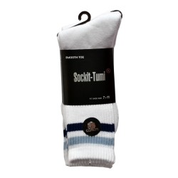 Men's Sports Socks White with Blue Stripes 2 Packs